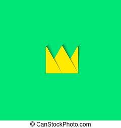 Crown logo paper material design element, princess cartoon tiara icon