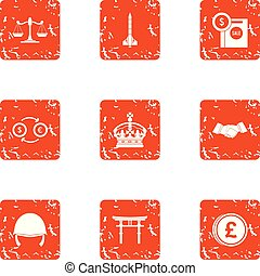 Crown money icons set, grunge style