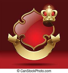crown., odznaka, retro, wstążka