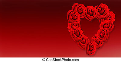 crown of heart-shaped red roses red on panoramic view red background
