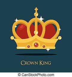 Crown of king or queen, princess vector icon