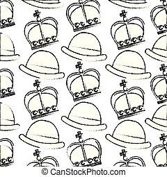 crown of king with gentleman hat pattern