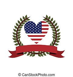 crown of leaves flag united states with heart shape and label