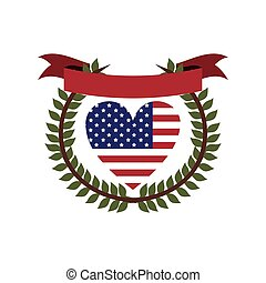crown of leaves flag united states with heart shape and ribbon