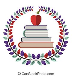 crown of leaves with school books with apple