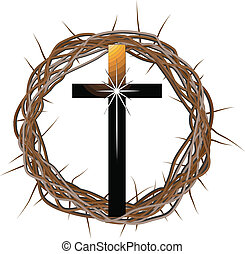 A vector drawing of a crown made of thorns with a cross in front of it.