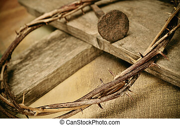 crown of thorns, cross and nail