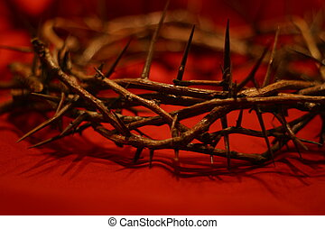 crown of thorns against red background symbolic of the day He wore our crown