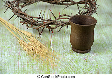 Crown of Thorns Cup of Wine and Wheat