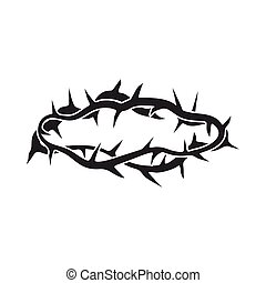 Crown of thorns icon in black style isolated on white...