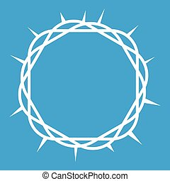 Crown of thorns icon white isolated on blue background...
