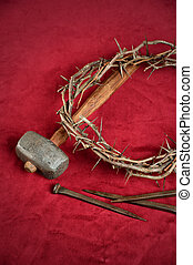 Crown of Thorns Nails and Hammer