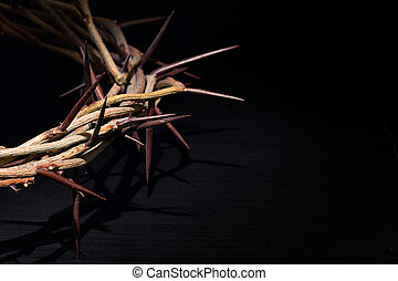 Crown Of Thorns On A Black Wooden Background