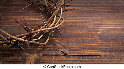 Crown of thorns on a wooden background - Easter - A crown on...