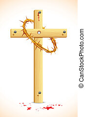 Crown of thorns on Wooden Cross - illustration of crown of...