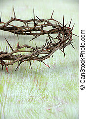 Crown of Thorns Over Vintage Table