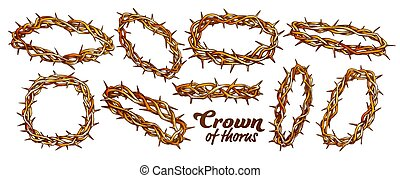 Crown Of Thorns Religious Symbols Set Color Vector