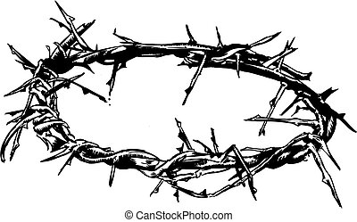 Crown Of Thorns Vector Illustration Hand Drawn with pen and ...