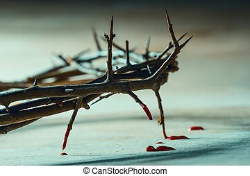 Crown of thorns with blood drops. Christian symbol
