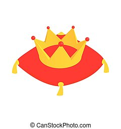 Crown on red velvet cushion icon in isometric 3d style on a white background