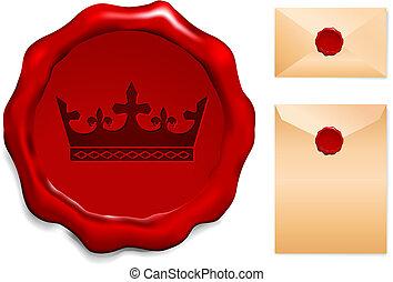 Crown on Wax Seal Origianl Vector Illustration Wax Seal ...
