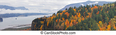 Crown Point at Columbia River Gorge in Fall - Vista House on...