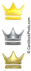 crown ranking   - 3d rendered gold, silver and brass crowns
