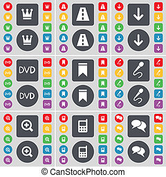 Crown, Road, Arrow down, DVD, Marker, Microphone, Magnifying glass, Calculator, Chat icon symbol. A large set of flat, colored buttons for your design.