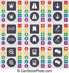 Crown, Road, Arrow down, DVD, Marker, Microphone, Magnifying glass, Calculator, Chat icon symbol. A large set of flat, colored buttons for your design. Vector