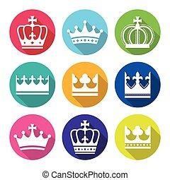 Crown, royal family flat design