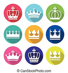 Crown, royal family flat design