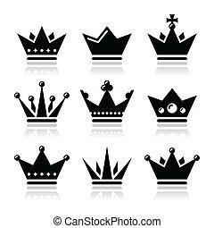 Crown, royal family icons set