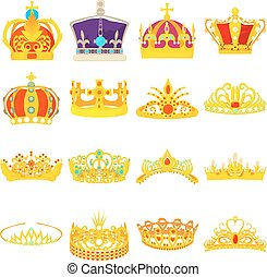 Crown royal icons set, cartoon style