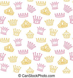 Crown seamless pattern. Golden and pink crowns for princess. Newborn girl vector background