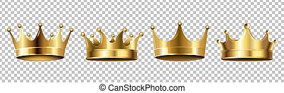 Crown Set Isolated Transparent Background