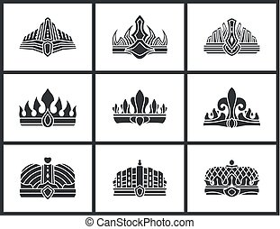 Crown Silhouette Collection Vector Illustration