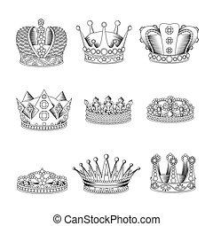 Crown Sketch Icon Set
