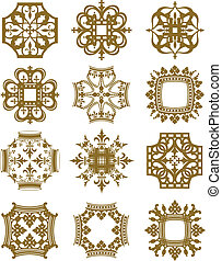 A series of symmetrical design elements derived from crown shapes.