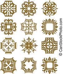 Crown Symbols - A series of symmetrical design elements...