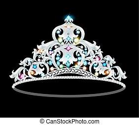 crown tiara women with glittering precious stones