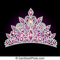 crown tiara women with pink gemstones - illustration crown...