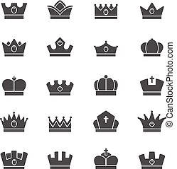 Crown vector solid icons set