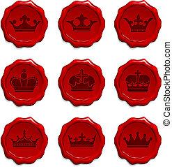 Crown Wax Seal Set Original Vector Illustration
