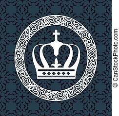 Crown White on Background Vector