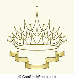 crown with banner - A simple banner beneath an elegant...