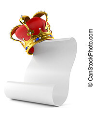 Crown with blank sheet of paper