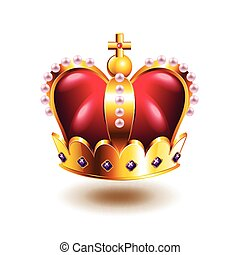 Crown with cross and pink pearls isolated on white vector