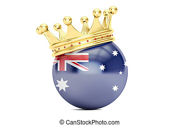 Crown with flag of Australia, 3D rendering
