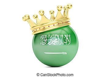 Crown with flag of Kingdom of Saudi Arabia, 3D rendering