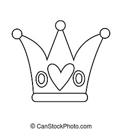 crown with heart line style icon